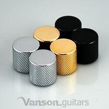 2 x NEW Vanson Flat Top 'TL' Guitar Knobs, Push-On, Chrome, Black or Gold VP003