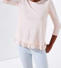 Ann Taylor LOFT Mixed Media Ruffle Tee Top Size X-Small Petite Pearl Petal NWT