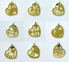 375 ECHT GOLD . Perlmutt Anhänger Sternzeichen Herz 15mm Tierkreiszeichen Zodiak