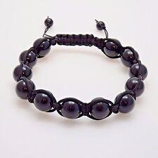 Mens Black Onyx Shamballa Bracelet - Genuine Onyx Gemstone Shamballa Bracelet