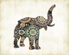 Elephant Bohemian Watercolor Art Print #4 by Dan Morris, option to mount print