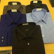 X M&S POLY-COTTON PLAIN, STRIPE& CHECK Mens Shirt Long Sleeve  Smart Casual Work