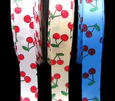 """2 Yards Cherry Cherries Fruit Cream Satin Ribbon 7/8""""W White Cream Blue"""