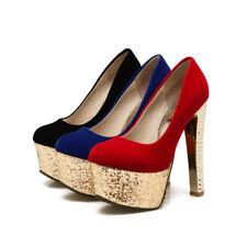 Women's Block Heels Shiny Glitter Platform Shoes Suede Fabric Pumps AU Size D833