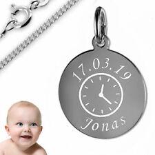 persönliche Taufuhr/Geburtsuhr Kette-925er Sterling Silber- Inkl. Kette+Gravur