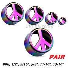 """00g - 13/16"""" Rainbow Peace Symbol AB Coat Double Flared Acrylic Saddle Ear Plugs"""