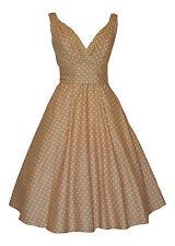 ba056a41 Ladies 40's 50's Vintage Retro Style Pastel Beige Polka Dot Party Tea Dress  New