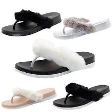 Ladies New Summer Toe Post Sandals Faux Fur Trim Womens Two Tone Flip Flops UK