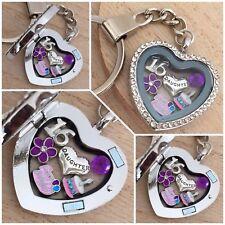 Personalised BIRTHDAY Gift Floating Heart Memory Locket Keyring - 30th 40th 50th