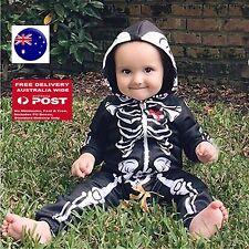 Baby Kid Boy Girl Halloween Skull Skeleton Party Costume Hoodie Romper Bodysuit