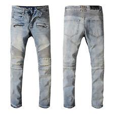 New Men's France Pop Style Moto Pants Blue Biker Jeans Slim fit Trousers B1051C