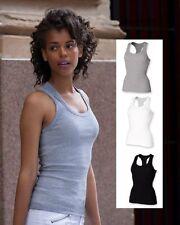 Skinni Fit Gris Blanco O Negro Mujer Espalda Al Aire Camiseta sin mangas Singlet