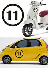 Stiker vinyl cut number ELEVEN. Pegatina vinilo Numero ONCE 11. Outdoor/indoor