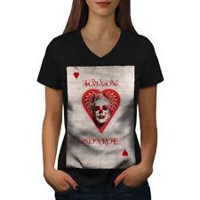 Monroe Heart Card Casino Women V-Neck T-shirt NEW   Wellcoda
