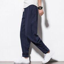 Uomo Rosso Fuoco cotone lino pantaloni Larga Casual Harem Sport lunghi  vintage 182a3086f41a