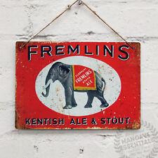 FREMLINS Kentish Ale & Stout Vintage Metal Wall Sign Plaque Retro Shed Bar Pub