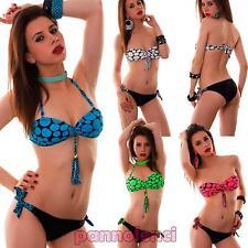 Bikini donna costume da bagno mare fascia pois due pezzi nuovo FT-1542