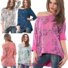 Pull en tricot manches longues asymétrique motif à fleurs femme neuf AS-5126-1