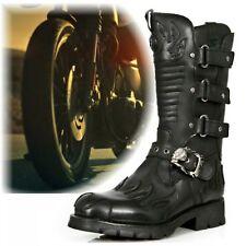 New Rock Biker Boots M-7603-C2 mit Flammen Applikationen Klettverschluss Fußbett