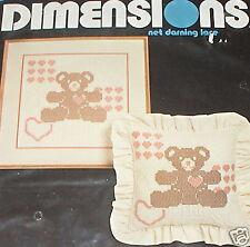 Teddy Bear & Hearts Patchwork Net Darning Lace Kit NIP