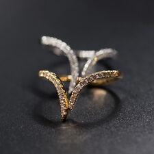 18k Gold Platinum Ring made w/ Swarovski Crystal Pave Stone Small Pinky Ring