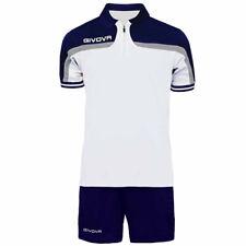 Completo Tuta Givova Kit Fast Polo Pantaloncini Blu Bianco Bicolore Completin...