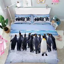 3D Pingouins 217 Lit Taies D'oreiller Édredon Couette Couvrir Set Célibataire