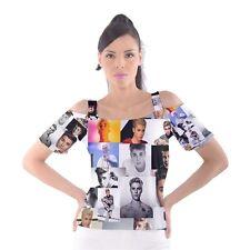 Justin Bieber Fan Faces Paparazzi Pop Music Women's Cut-Out Shoulder T-Shirt JB2