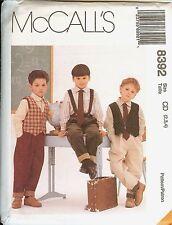 McCalls 8392 BOYS SCHOOL UNIFORM pleat pants shirt tie vest sewing pattern UNCUT