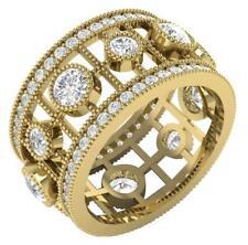 3.20 Ct 14k Solid Gold 11 mm Vintage Milgrain Eternity Ring Round Diamond I1 G