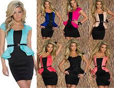 Schößchen Minikleid Kleid Stretch Businesskleid Cocktailkleid mit Gürtel Dress
