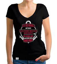 Damen T-Shirt V-Ausschnitt - Leg dich niemals mit hamburger Deerns an! - HH City