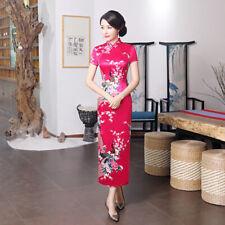 Rose,Sexy Chinese women's traditional silk/Satin long dress cheongsam :Size:S-4
