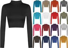 Womens Turtle Neck Crop Ladies Long Sleeve Plain Polo Short Stretch Top 8-14