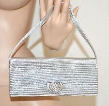 Pochette borsello donna argento strass cerimonia borsa borsetta 123