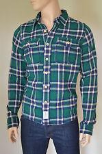 NUOVO Abercrombie & Fitch Henderson LAGO Flanella Camicia Verde NV PLAID XXL rrp £ 120