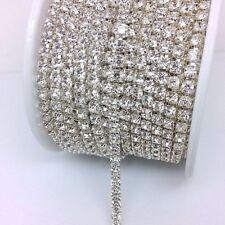 1 MTR Clear Crystal Rhinestone Chain Silver Costume Applique Sew On Trim Lace