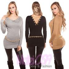 Maglione Lungo Donna Sweater Maxi Maglia Maglioncino Pull Over Moda Sexy