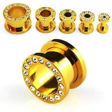 FLESH TUNNEL OHR GOLD ELOXIERT KRISTALLE KLAR  3mm-12mm