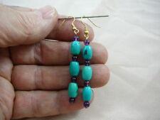 (EE-474-8) turquoise Purple amethyst beaded dangle earrings gold