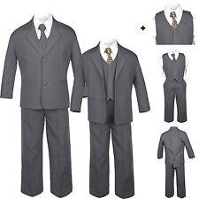 Baby Toddler Teen Formal Dark Grey Tuxedo 6pc Set Boys Suits Dot Necktie sz S-20