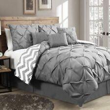 Queen King Bed Gray Grey White Chevron Pintuck Pleat 7 pc Comforter Set Bedding