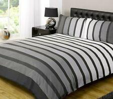 Soho Stripe Black Duvet Quilt Cover Grey White Boys / Mens Striped Bedding Set