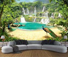Peacock Waterfall Full Wall Mural Photo Wallpaper Printing 3D Decor Kid Home