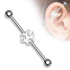 "14g 1 1/2"" Surgical Steel Biohazard Industrial Barbell Cartilage Ear Gauges"