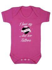 Darkside I Love My Mum And Her Tattoos Pink Baby Vest Romper Biker Punk Tattoo