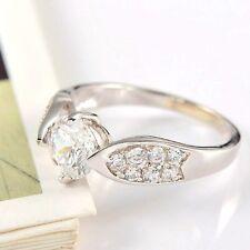 White Gold Plated Round Cut Cubic Zirconia Stone Ring Jewelry Beauty Beautiful