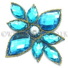 Turchese Blu con Strass Perline APPLIQUE, Motif, bordatura, Ritaglia, paillettes, perline