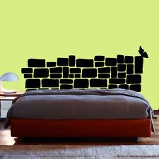 Vinilo decorativo pegatina habitacion dormitorio CABECERO MURO PIEDRA MARIPOSA
