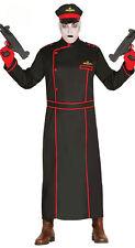 Mens Commissar Costume Fancy Dress Halloween Black Military Coat & Hat 38-44 NEW